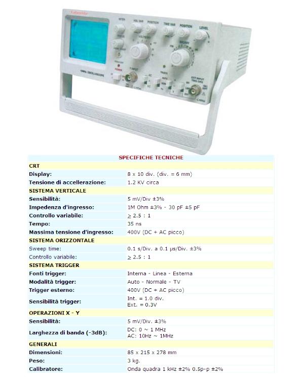 Schemi Elettrici Oscilloscopio : Oscilloscopio vendita strumenti per impianti elettrici